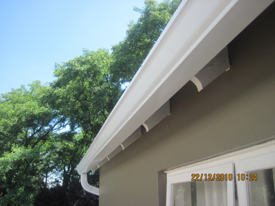 Completed Gutter system in White.