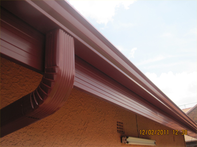 Completed Gutter system - in Cape Red.