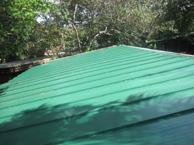 Completed Seameless Roof Sheeting in Green