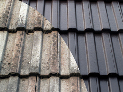 Tiled roof before and after painting.